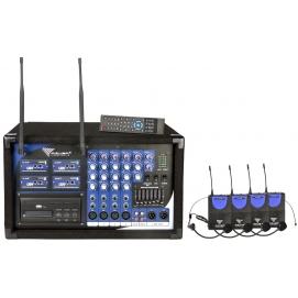Zestaw PA-180 UHF AZUSA powermikser 2x200W + 4 bezprzewodowe mikrofony nagłowne