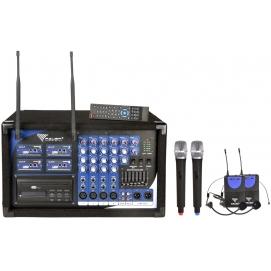 Zestaw PA-180 UHF AZUSA powermikser 2x200W + 4 bezprzewodowe mikrofony (2 do ręki + 2 nagłowne)