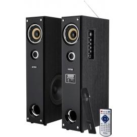 Zestaw kolumn głośnikowych z wbudowanym odbiornikiem FM, odtwarzaczem MP3 oraz funkcją Karaoke