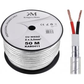 Kabel głośnikowy profesjonalny OFC Kruger&Matz 2 x 2.5mm + ekran foliowy