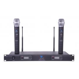 Mikrofony bezprzewodowe UHF Azusa dwukanałowe z automatycznym dostrajaniem PLL-200