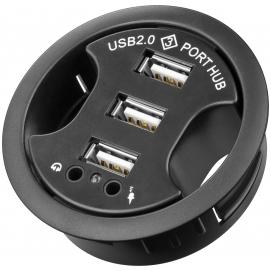 3-portowy koncentrator USB 2.0 Hi-Speed In Desk / rozdzielacz + audio
