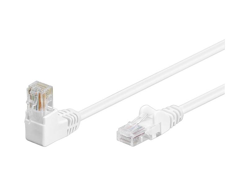 Kabel Patchcord Cat 5e U/UTP (1x90°) RJ45/RJ45 15m biały