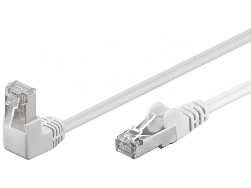 Kabel Patchcord CAT 5e U/UTP (1x90°) RJ45/RJ45 0,25m biały