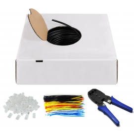 Kabel instalacyjny zewnętrzny (drut) CAT 6 U/UTP CCA 100m czarny (zestaw)