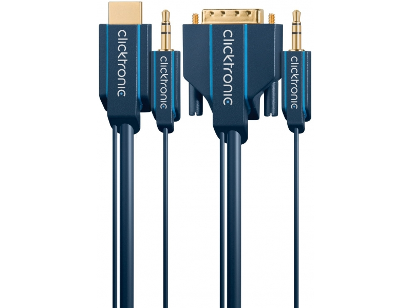 Kabel HDMI / DVI-D + 3,5mm AUDIO 5m Clicktronic