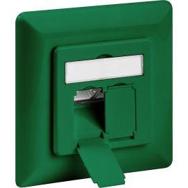 Gniazdo podtynkowe CAT 6 2x RJ45 zielone