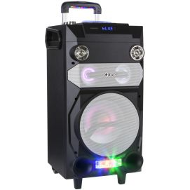 Przenośny aktywny zestaw DJ marki Quer z światełkami RGB, funkcją nagrywania oraz karaoke