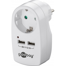 16 A safety socket with 2x USB port, 2.1A, white - 1 safety socket adapter for german plug systems
