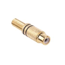 Gniazdo RCA złote 2 paski na kabel czarne
