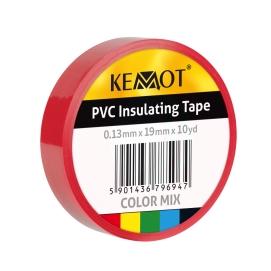 Taśma izolacyjna KEMOT 0,13x19x10Y klejąca czerwona