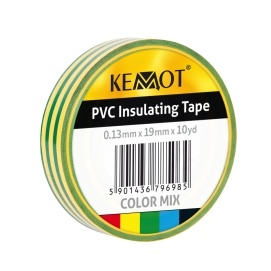 Taśma izolacyjna KEMOT 0,13x19x10Y klejąca żółto/zielona