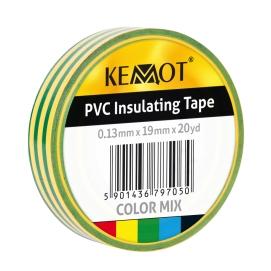 Taśma izolacyjna KEMOT 0,13x19x20Y klejąca żółto/zielony