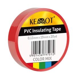 Taśma izolacyjna KEMOT 0,13x19x20Y klejąca czerwona