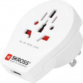 Country Adapter World to USA USB, white - suitable for equipment with earthed & unearthed plugs (2- & 3-pole), with an integrate