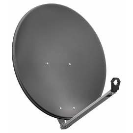 80 cm aluminium satellite dish, anthracite - for individual/multiple subscribers or multi-feed systems with particularly stable