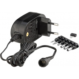 3 V - 12 V Universal Power Supply, 1.5 A, black, 1.8 m - incl. 6 DC adapter - max. 18 W and 1.5 A