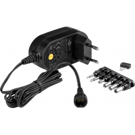 3 V - 12 V Universal Power Supply, 0.6 A, black, 1.8 m - incl. 6 DC adapter - max. 7.2 W and 0.6 A