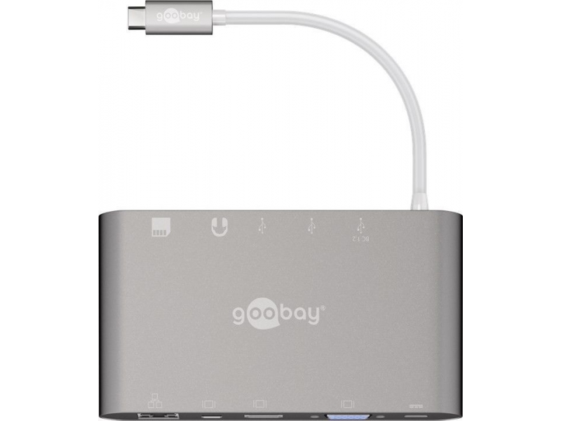 Adapter USB-C™ / 3x USB 3.0, HDMI, Mini DisplayPort, VGA, RJ45, SD/MMC i Micro SD, Jack 3,5mm, Power Deliver