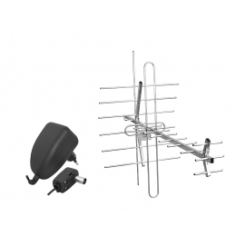 PS Antena DVB-T TURBO TV-MUX8 COMBO VHF/UH,F polaryzacja pionowa (V) + zasilacz + wzmacniacz SWA-955.