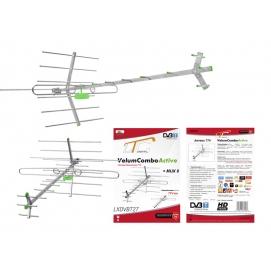 PS Antena DVB-T TURBO TV-MUX8 COMBO VHF/UHF polaryzacja pozioma (H) + zasilacz + wzmacniacz SWA-955.