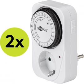 2 pcs.: Mechanical timer, 2 pcs. in cardboard box, white - controls electronic devices easily and precisely