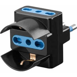 3-way adapter for Italian plug (16 A), black - Mains and surge protection
