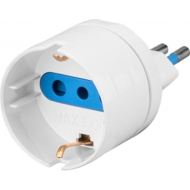 Adapter for Italian plug (10 A), white - Mains and surge protection