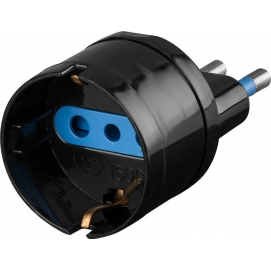 Adapter for Italian plug (10 A), black - Mains and surge protection