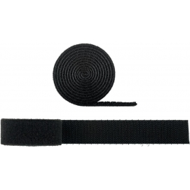 Cable management set with hook-and-loop fastener roll (1m, adjustable length), black - for organising and attaching cables