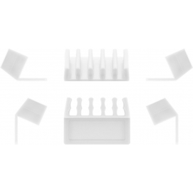5-slot cable management, white, white - 2-piece set for organising and attaching cables