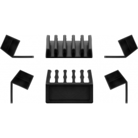 5-slot cable management, black, black - 2-piece set for organising and attaching cables