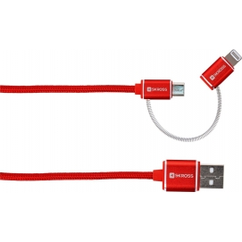 2in1 Charge'n Sync Micro USB & Lightning Connector - Steel Line, red, 1 m - For all USB devices with Micro USB or Lightning Conn