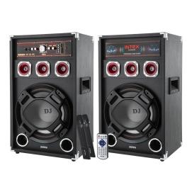 Zestaw nagłośnieniowy z mikrofonami bezprzewodowymi DJ-220K SUF INTEX