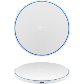 Fast Wireless Charger 10W (white), white, 1 m - flat, wireless fast-charging device for Qi compatible smartphones