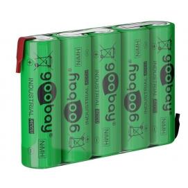 5x AA (Mignon) - 2100 mAh, green - Solder tail (Z), Nickel-metal hydride battery (NiMH), 6 V