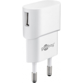 USB charger 1 A, white - with 1 USB port, slim design