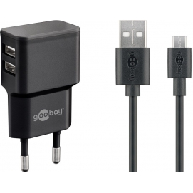 Dual Micro USB charger set 2.4 A, black, 1 m - power unit with 2 USB ports and Micro USB cable
