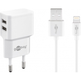 Dual Apple Lightning charger set 2.4 A, white, 1 m - power unit with 2 USB ports and Apple Lightning cable