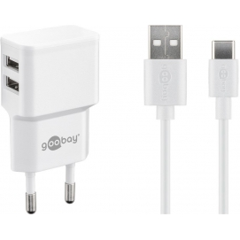 USB-C charger set 2.4 A, white, 1 m - power unit with 2 USB ports and USB Type-C cable