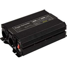 Voltage converter 1,000 W, black - converts 12 V DC into 230 V AC