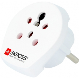 Country Adapter India Israel Denmark to Europe, Safety plug (type F, CEE 7/7), white - suitable for equipment with earthed & une