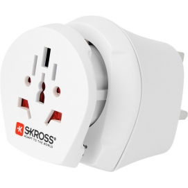 Country Combo World to UK, UK male, white - suitable for equipment with earthed & unearthed plugs (2- and 3-pole)