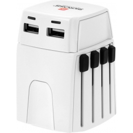 World Adapter MUV Micro USB, white - suitable for unearthed devices (2-pole), with an integrated dual USB charger
