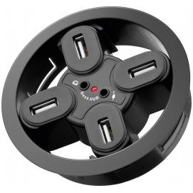 4-portowy koncentrator USB 2.0 Hi-Speed In Desk / rozdzielacz + audio