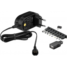 3 V - 12 V Universal Power Supply, 0.3 A, black, 1.8 m - incl. 1 USB and 8 DC adapter - max. 3.6 W and 0.3 A