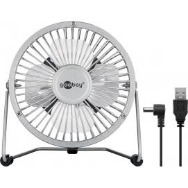 4 Inch Desktop USB fan, silver, 1.2 m - provides for a cool breeze on your desk