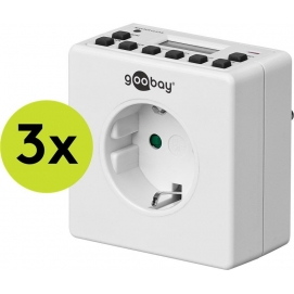 3 pcs.: Digital timer, 3 pc. in cardboard box, white - controls electronic devices precisely, inconspicuous design
