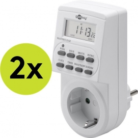 2 pcs.: Digital timer, 2 pcs. in cardboard box, white - controls electronic devices precisely and conveniently