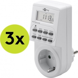 3 pcs.: Digital timer, 3 pc. in cardboard box, white - controls electronic devices precisely and conveniently